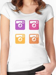 Insta Sunset Cameras Pattern Women's Fitted Scoop T-Shirt