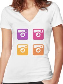 Insta Sunset Cameras Pattern Women's Fitted V-Neck T-Shirt
