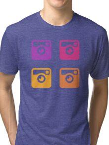 Insta Sunset Cameras Pattern Tri-blend T-Shirt