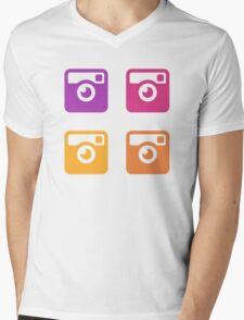Insta Sunset Cameras Pattern Mens V-Neck T-Shirt