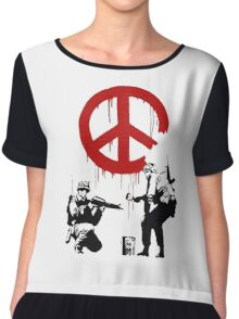 Soldiers Painting Peace For Bansky Graffiti Chiffon Top