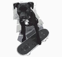 SK8 Staffy Dog black and white by amanda metalcat