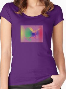 Purple Gray Unique Abstract  Women's Fitted Scoop T-Shirt