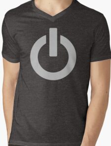 Steel Power Button Mens V-Neck T-Shirt