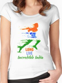 Tee t-shirt, 15th August- India Independence Day!!!! Women's Fitted Scoop T-Shirt