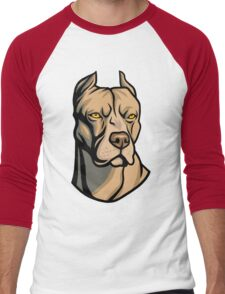 Pit Bull Head Men's Baseball ¾ T-Shirt