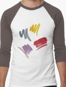 brush doodle small pattern  Men's Baseball ¾ T-Shirt