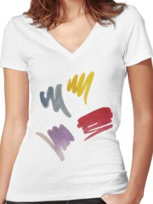 brush doodle large pattern Women's Fitted V-Neck T-Shirt