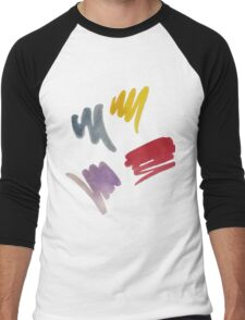 brush doodle large pattern Men's Baseball ¾ T-Shirt