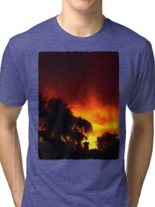 Weeping Tree Silhouette and Sunset 2 Tri-blend T-Shirt