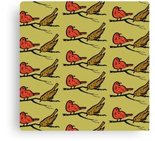 pattern with drawn birds Canvas Print