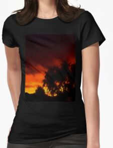 Weeping Tree Silhouette and Sunset 1 Womens Fitted T-Shirt