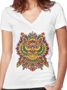 Louis Wain - Cat Owl Women's Fitted V-Neck T-Shirt