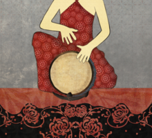 Rastafari Woman on Bongo Drum Sticker