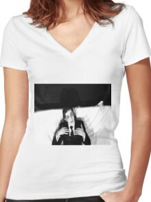 Fast Eddie Women's Fitted V-Neck T-Shirt