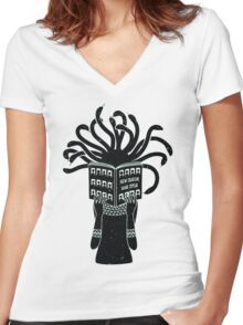 Medusa hairstyle  Women's Fitted V-Neck T-Shirt