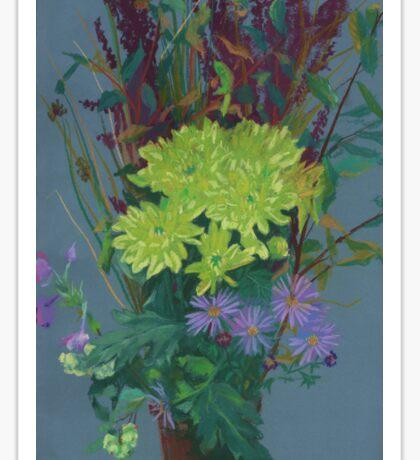 """Yellow chrysantemum"", floral art, pastel painting, autumn flowers Sticker"