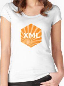 xml programming language hexagonal hexagon sticker Women's Fitted Scoop T-Shirt