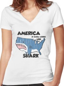 America is a Shark Women's Fitted V-Neck T-Shirt