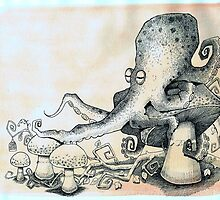Octopus on mushroom by Vicky Pratt