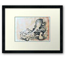 Octopus on mushroom Framed Print