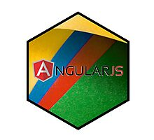 angularjs programming language hexagonal hexagon sticker Photographic Print