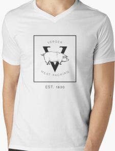Verger Meat Packing  Mens V-Neck T-Shirt