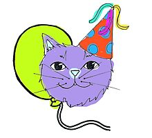 Cute Purple Party Cat Photographic Print