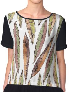 Watercolor Willow Leaves Pattern Chiffon Top