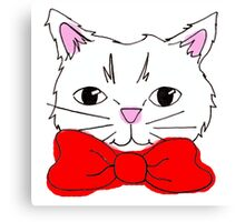 Cute Cat in a Red Bow Tie  Canvas Print