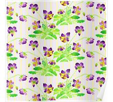 Watercolor Pansies Purple Yellow Lavender Stripes Pattern Poster