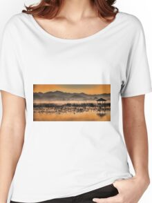 Myanmar, Shan state, Inle lake, fishermen fishing by traditional fishing techniques at dusk  Women's Relaxed Fit T-Shirt