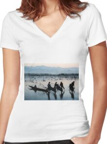 Myanmar, Shan state, Inle lake, fishermen fishing by traditional fishing techniques at dusk  Women's Fitted V-Neck T-Shirt