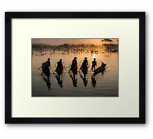 Myanmar, Shan state, Inle lake, fishermen fishing by traditional fishing techniques at dusk  Framed Print