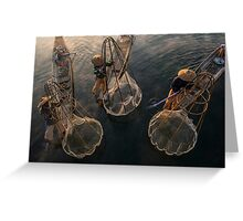 Myanmar, Shan state, Inle lake, fishermen fishing by traditional fishing techniques at dusk  Greeting Card