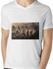 Myanmar, Shan state, Inle lake, fishermen fishing by traditional fishing techniques at dusk  Mens V-Neck T-Shirt