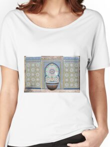 A Sebil (water fountain) and Decorative tiles at Nuzha mosque, Jaffa, Israel  Women's Relaxed Fit T-Shirt
