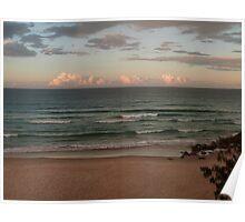 Winter Beach Sunset Poster
