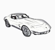1975 Corvette Stingray Muscle Car Illustration One Piece - Short Sleeve