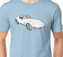 1975 Corvette Stingray Muscle Car Illustration Unisex T-Shirt