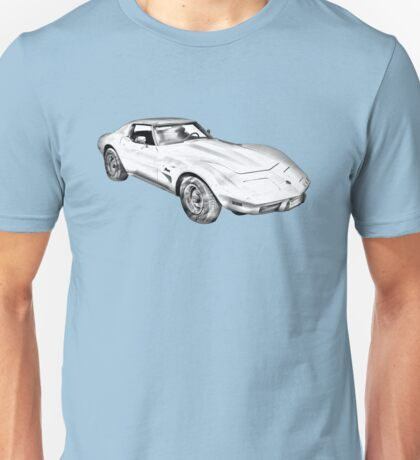 1975 Corvette Stingray Muscle Car Illustration Unisex T-Shirt