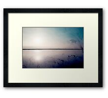 grunge sunset in a lake  Framed Print