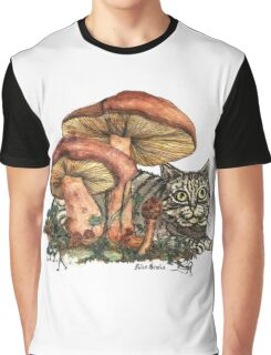 Mushroom and Cat Graphic T-Shirt