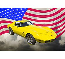 1975 Corvette Stingray Sports Car And American Flag Photographic Print