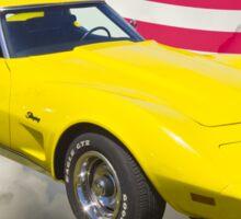 1975 Corvette Stingray Sports Car And American Flag Sticker