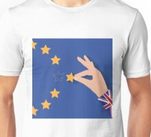 Brexit UK hand removing star from EU flag leaving just stitches behind Unisex T-Shirt