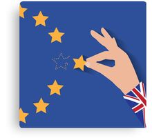 Brexit UK hand removing star from EU flag leaving just stitches behind Canvas Print