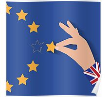 Brexit UK hand removing star from EU flag leaving just stitches behind Poster