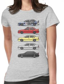 Stack of Volvo 850R 854R T5 Turbo Saloon Sedans Womens Fitted T-Shirt