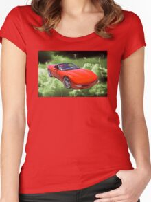 Red C5 Corvette convertible Muscle Car Women's Fitted Scoop T-Shirt